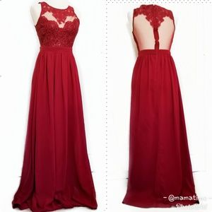 Soieblu size S Red lace gown dress open back pleat